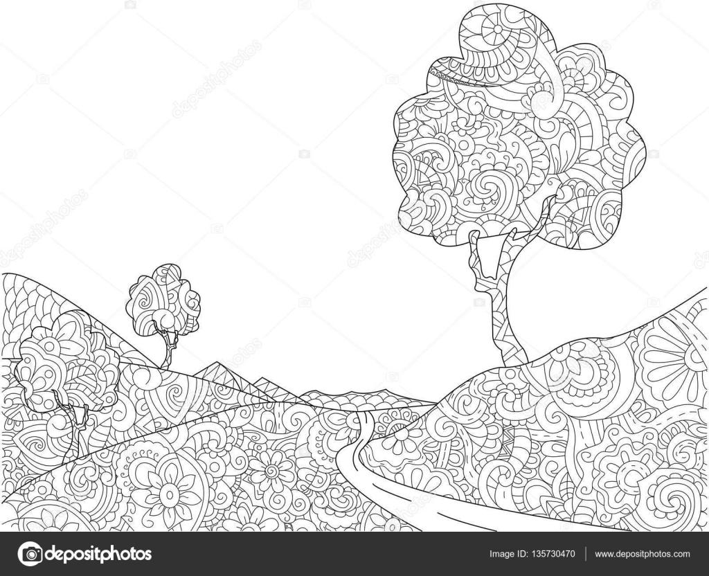 Paesaggio Da Colorare Libro Per Vettore Di Adulti Vettoriali Stock