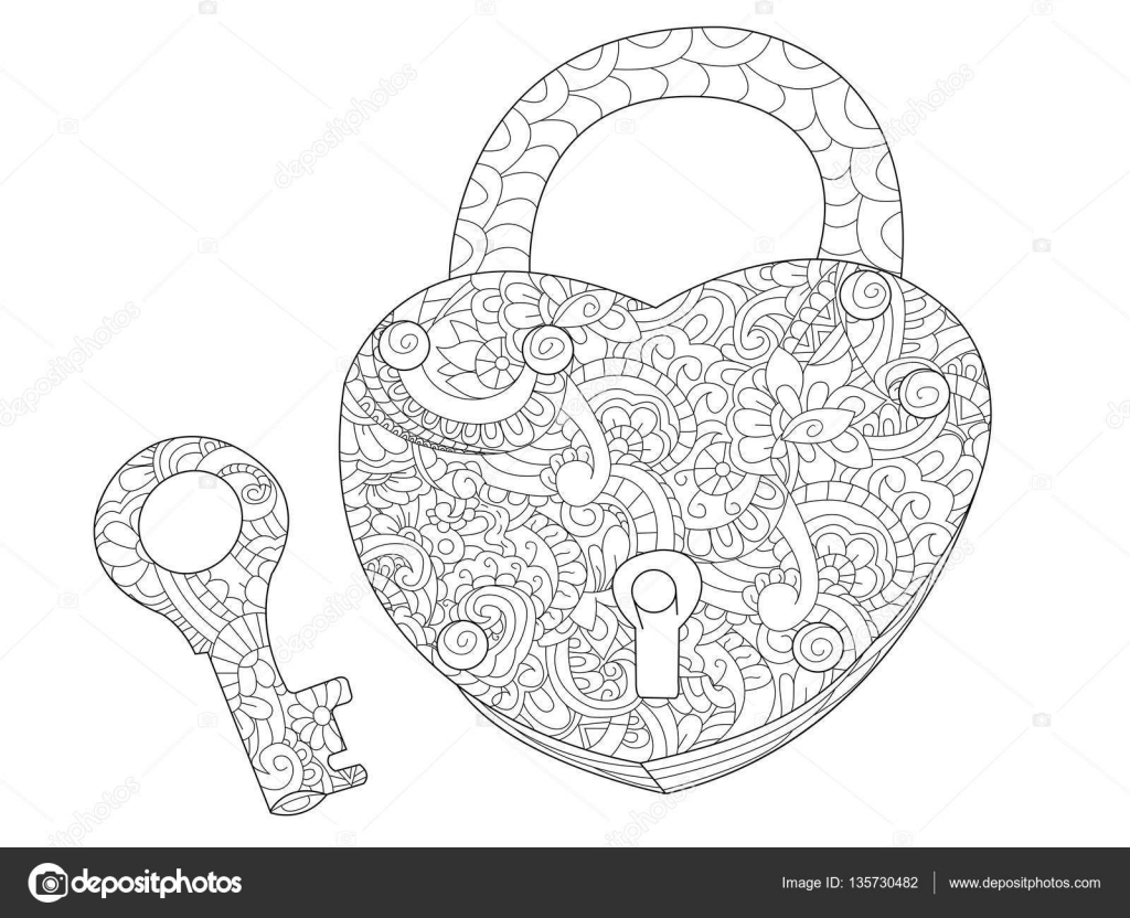 Lock And Key Coloring Book For Adults Vector Stock 135730482