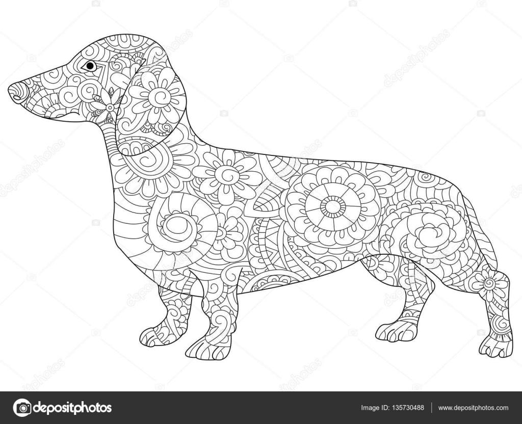 Perro salchicha para colorear libro de vectores adultos — Vector de ...