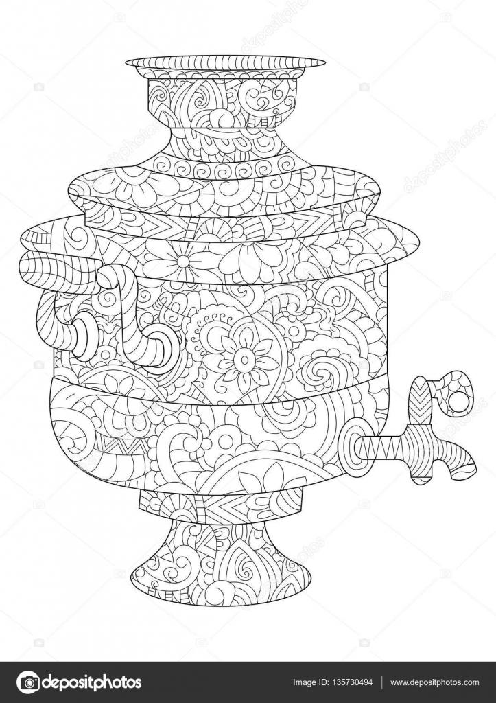 самовар рисунок черно белый самовар раскраска самовар