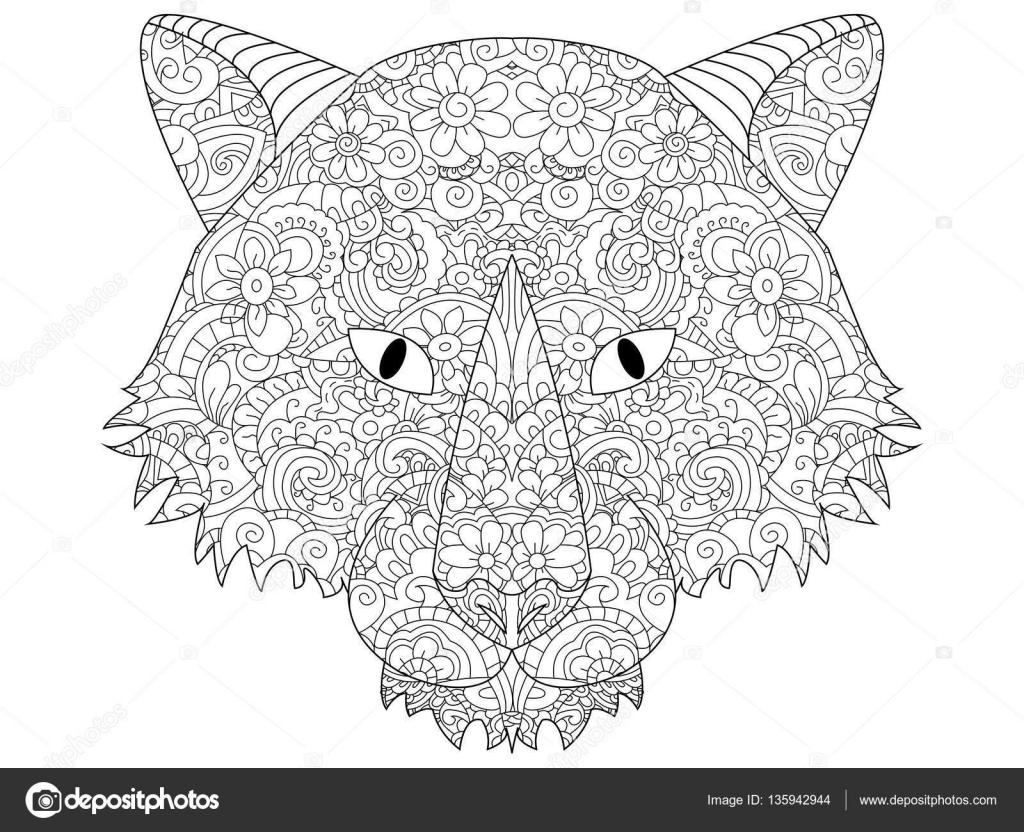 Bonne Tête De Loup Coloriage Vecteur Pour Les Adultes Image