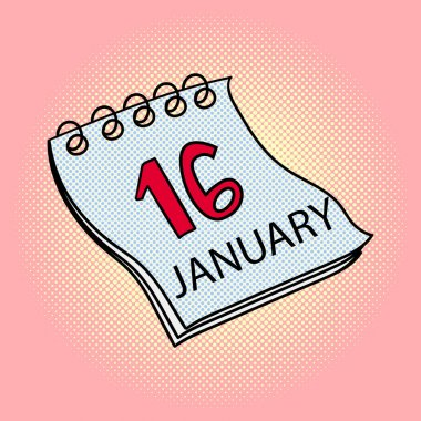 Calendar January 16 pop art vector illustration