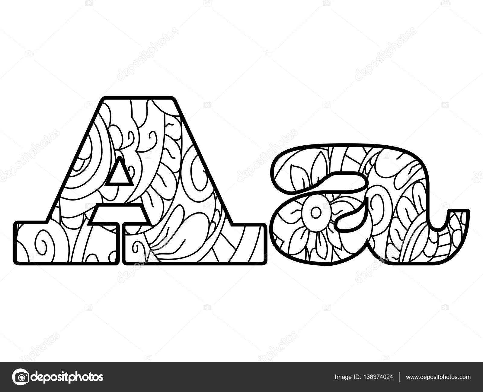 Anti coloring book alphabet, the letter A vector illustration ...