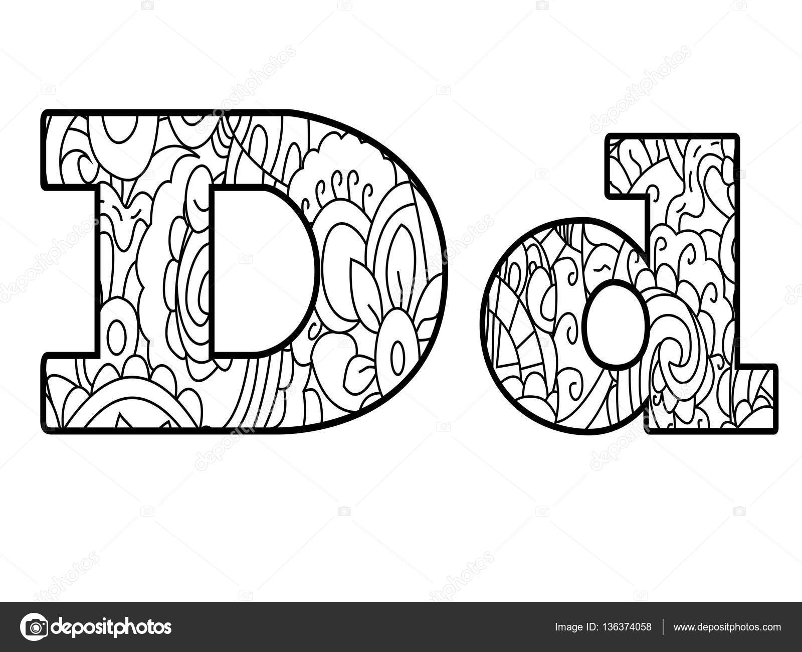 Anti Coloring Book Alphabet The Letter D Vector Illustration Stock 136374058