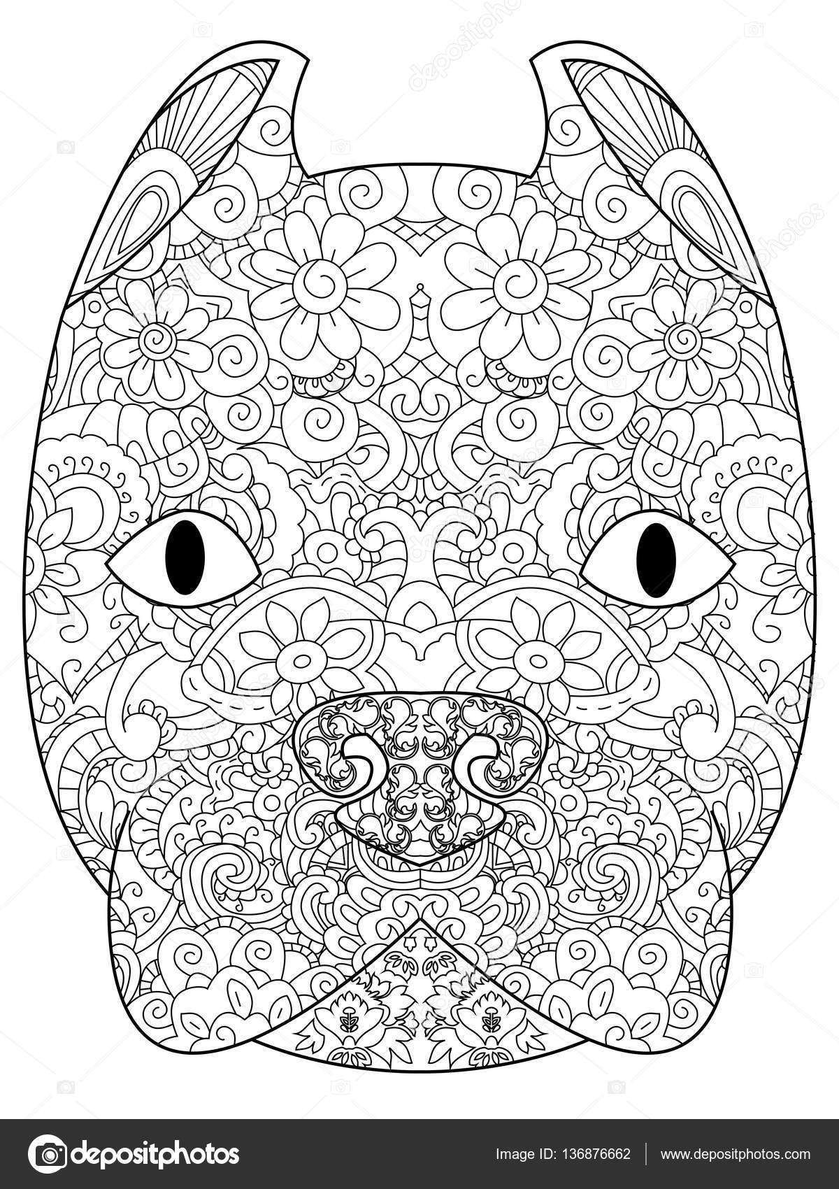 Good American Pit Bull Terrier Head Coloring Book For Adults Vector Illustration Anti Stress Adult Zentangle Style Black And White Lines