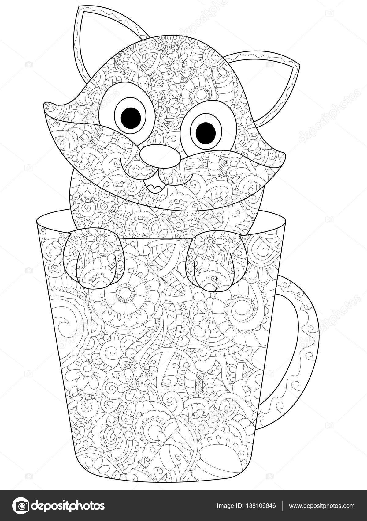 Kotek W Filiżance Kolorowanki Wektor Dla Dorosłych Grafika