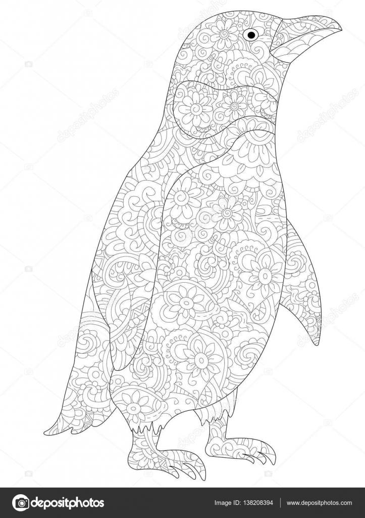 Vecteur de coloriage pingouin pour adultes image vectorielle 138208394 - Coloriage pinguoin ...