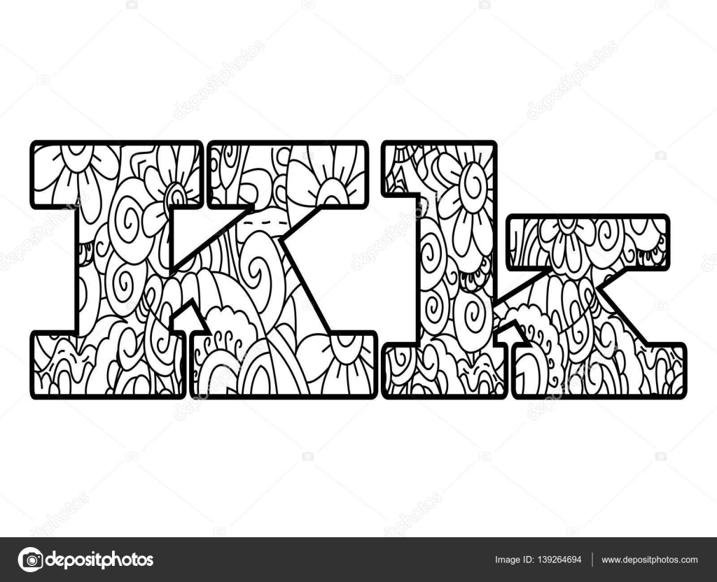 Anti coloring book alphabet, the letter K vector illustration ...