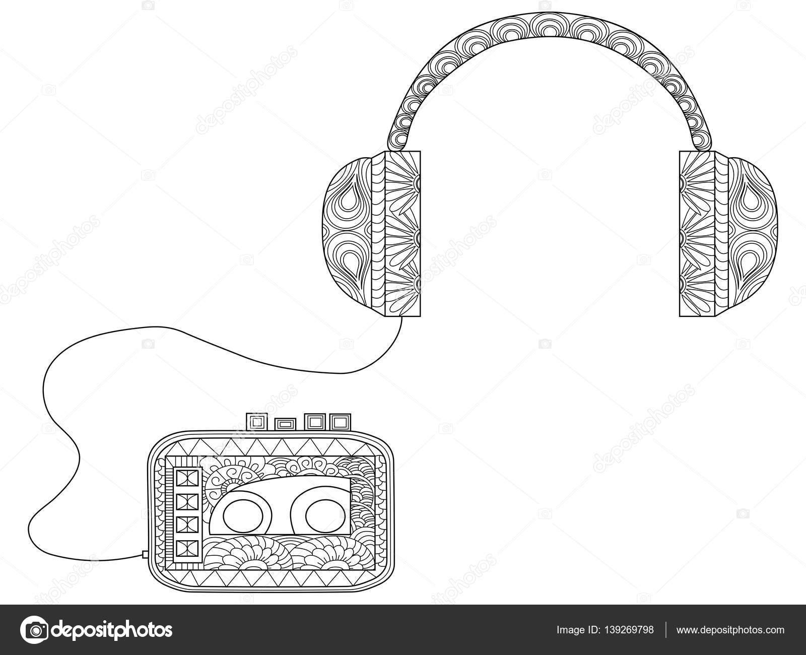 Kleurplaten Voor Volwassenen Muziek.Speler Met Koptelefoon Vector Kleurplaten Voor Volwassenen