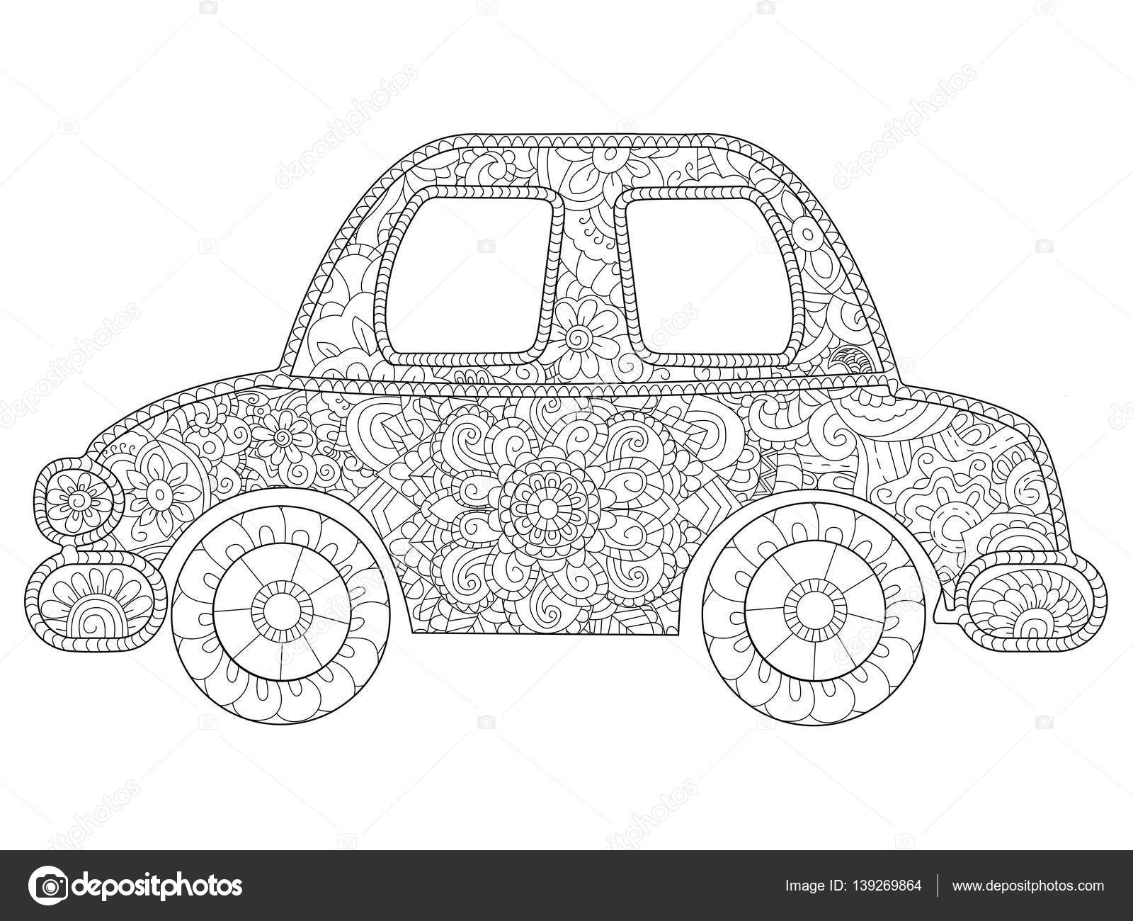 Vector de libro bebé juguete coche para colorear para adultos ...
