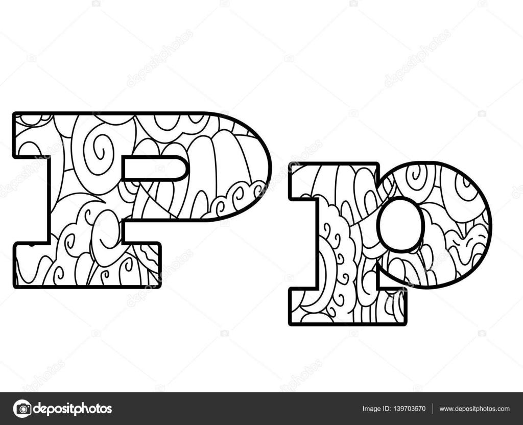 Anti para colorear alfabeto de libro, la letra P del vector ...