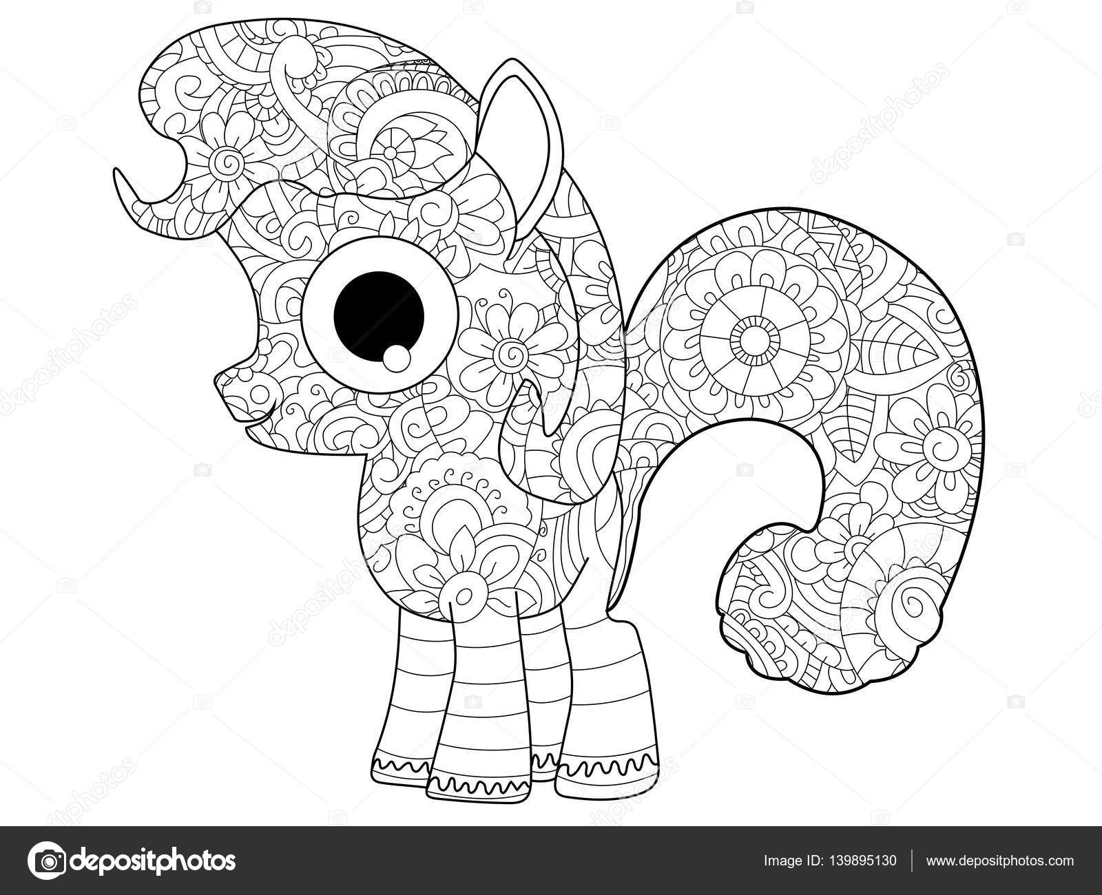 Little horse pony coloring vector for adults — Stock Vector ...