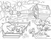 Hospodářská zvířata a venkovské krajiny zbarvení vektor pro dospělé