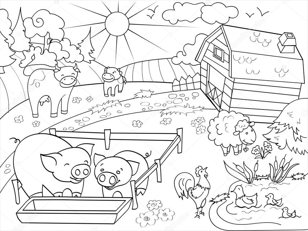comic barnyard animals coloring pages - photo#9