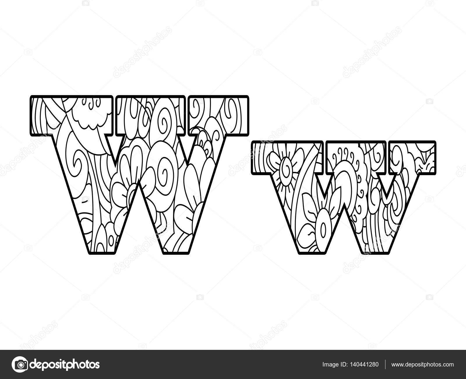 Anti Para Colorear Alfabeto De Libro La Letra W Vector Ilustración