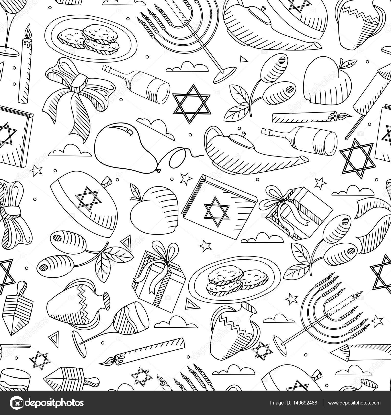 Hanukkah línea diseño vector ilustración inconsútil para colorear ...