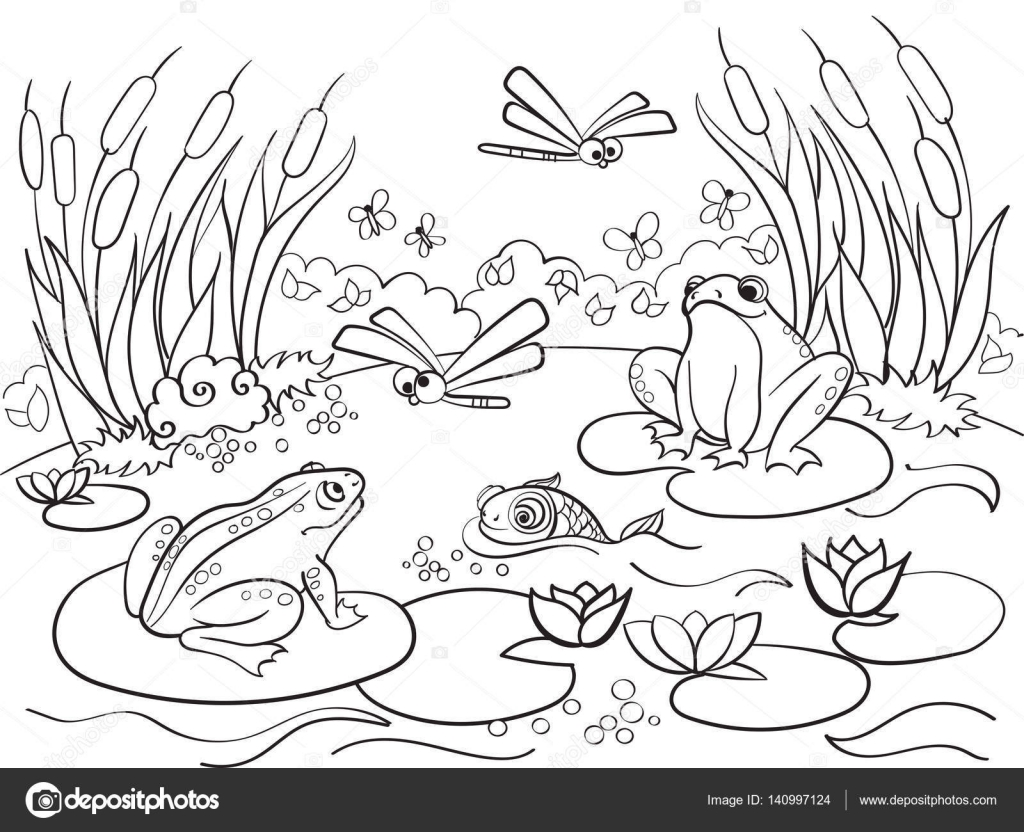 Coloring Pages Of Wetland Animals : Wetland landschap met dieren vector kleurplaten voor