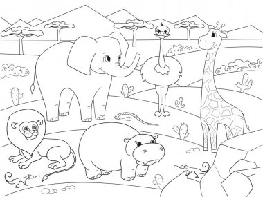 Animals of Africa savanna coloring vector for adults