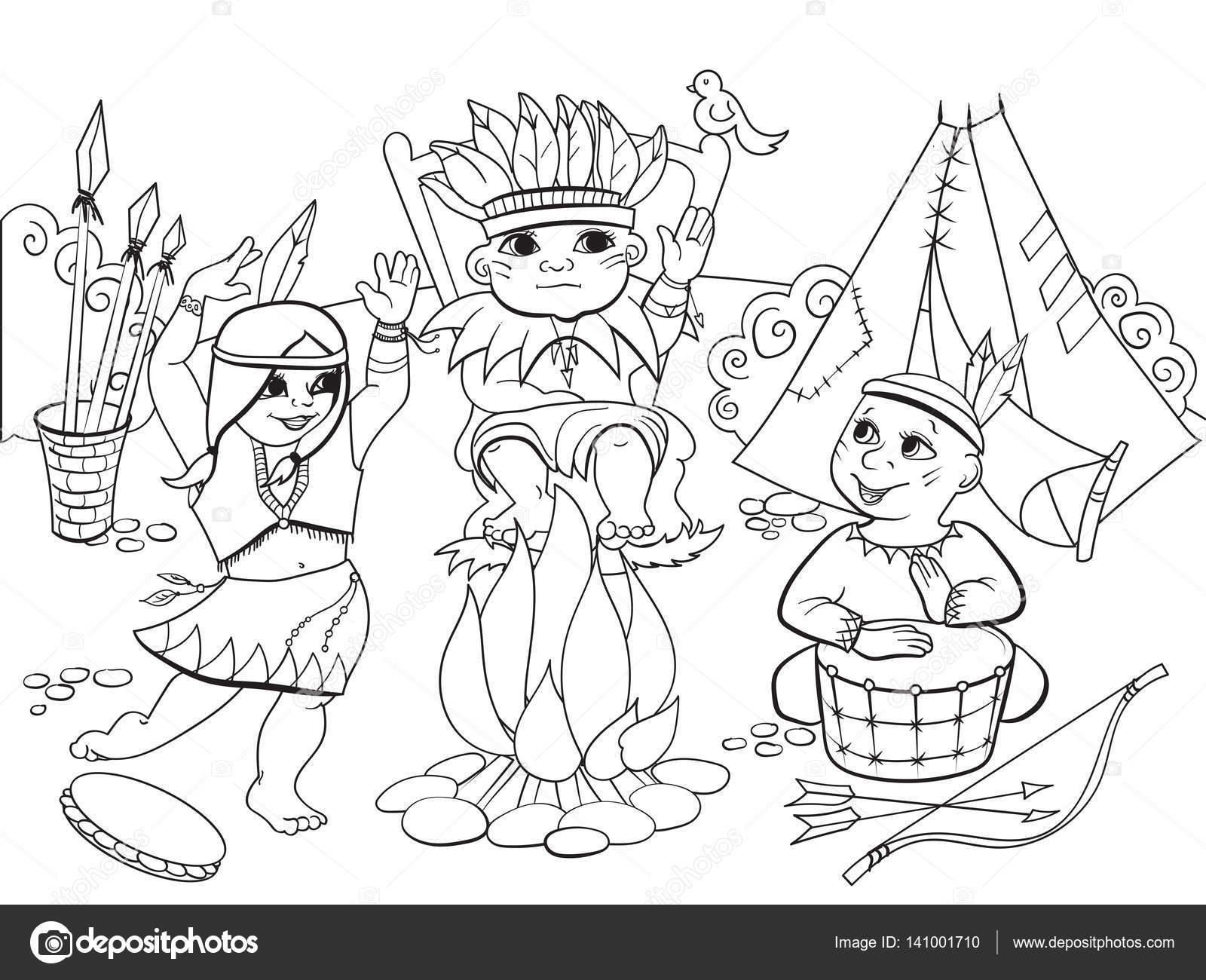 Coloriage Danseuse Indienne.Tribu Indienne Sous La Forme De Trois Enfants Coloriage