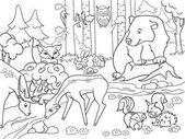 Lesní krajina se zvířaty barevné vektorové pro dospělé