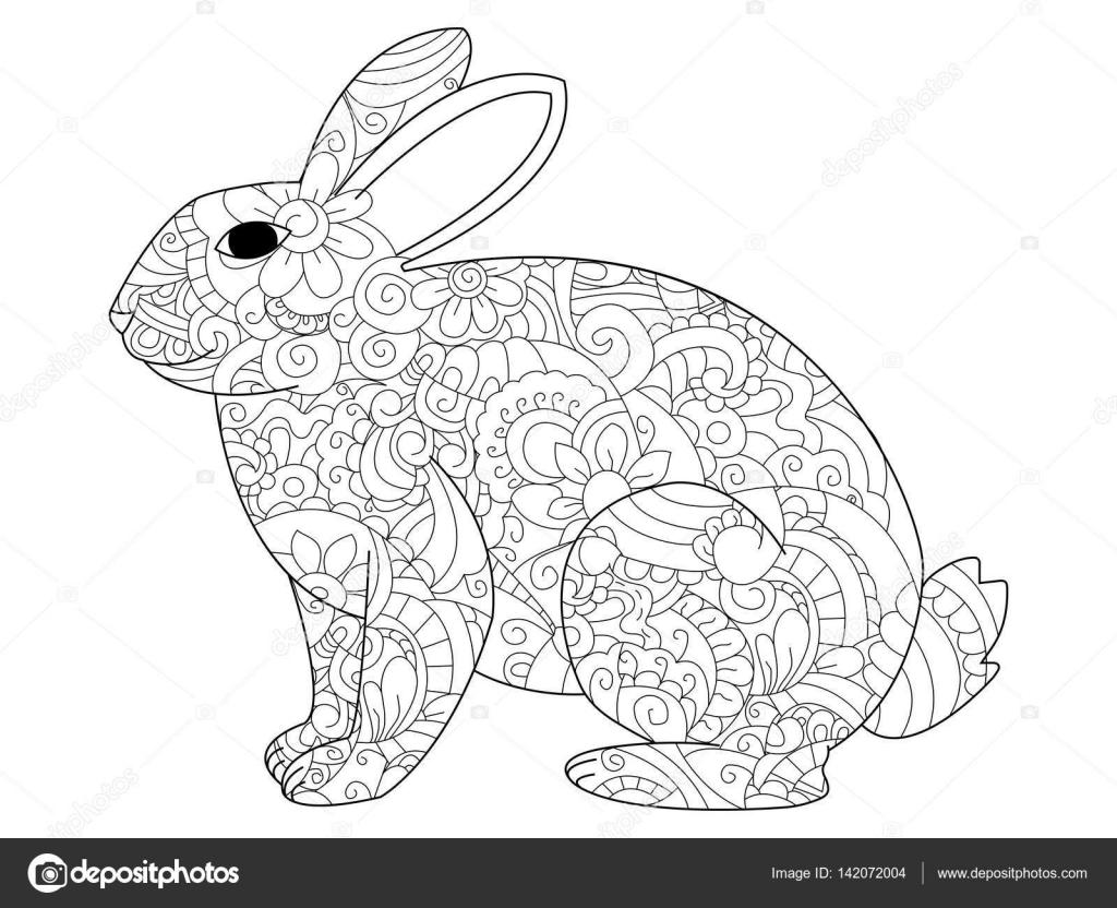 konijn vector het kleuren voor volwassenen