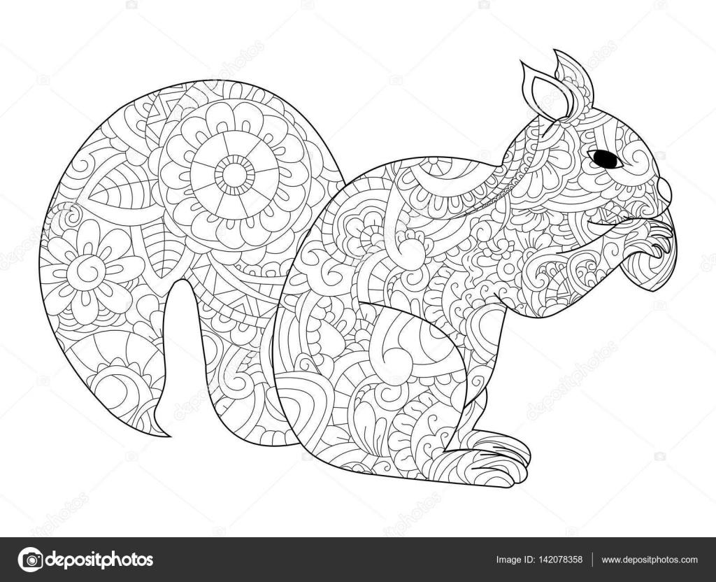 Eekhoorn Met Moer Vector Kleurplaten Voor Volwassenen Stockvector