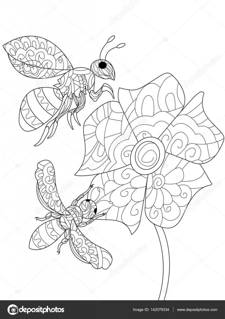 Abejas en un vector de libro para colorear de flores para adultos ...