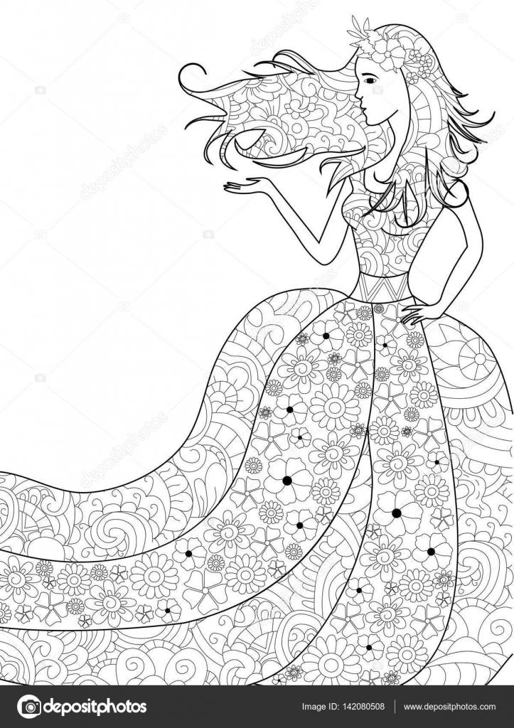 Mujer de primavera para colorear vector para adultos — Archivo ...