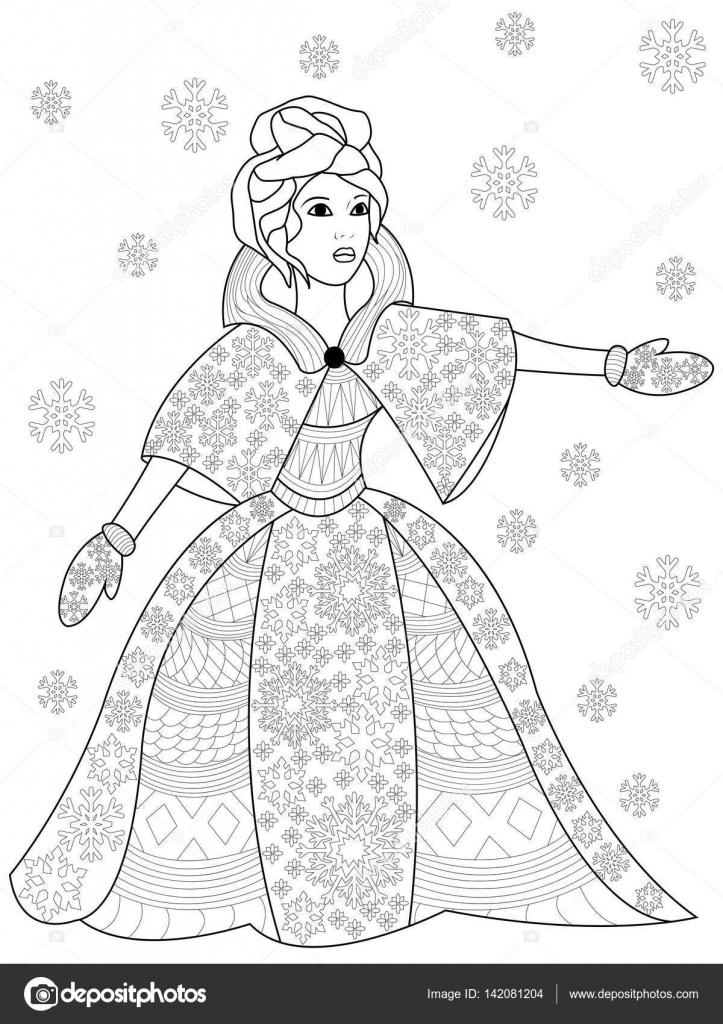 Mujer de invierno para colorear vector para adultos — Vector de ...