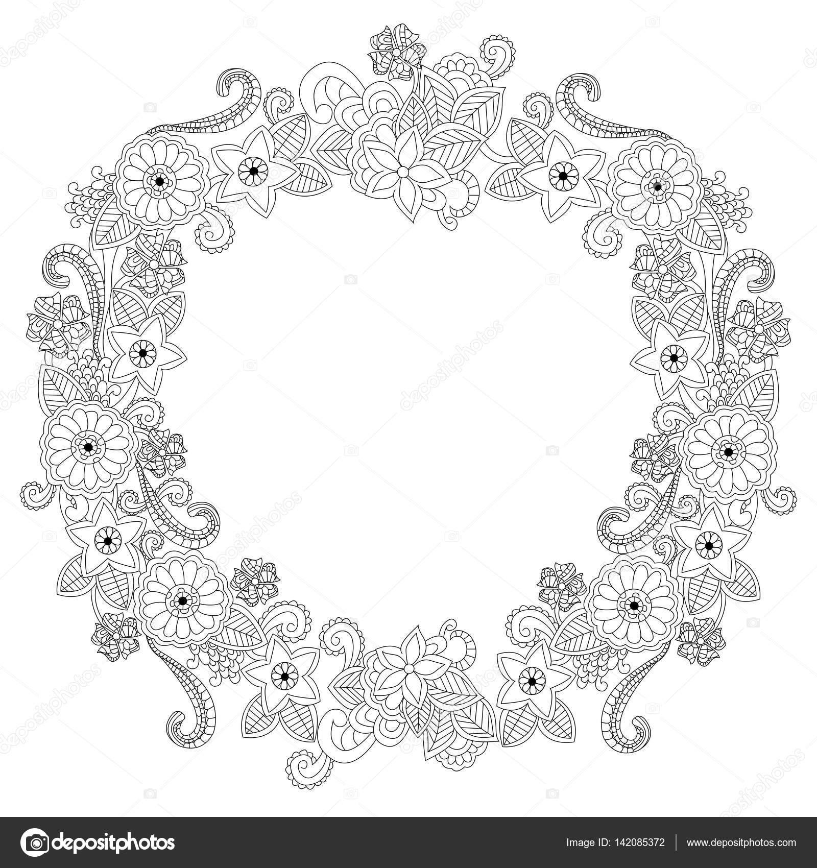 Óvalo de marco de flores para colorear ilustración vectorial del ...