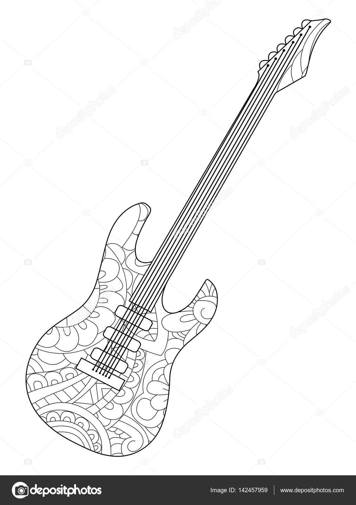 Musical instrument electric guitar Coloring book vector for adults ...