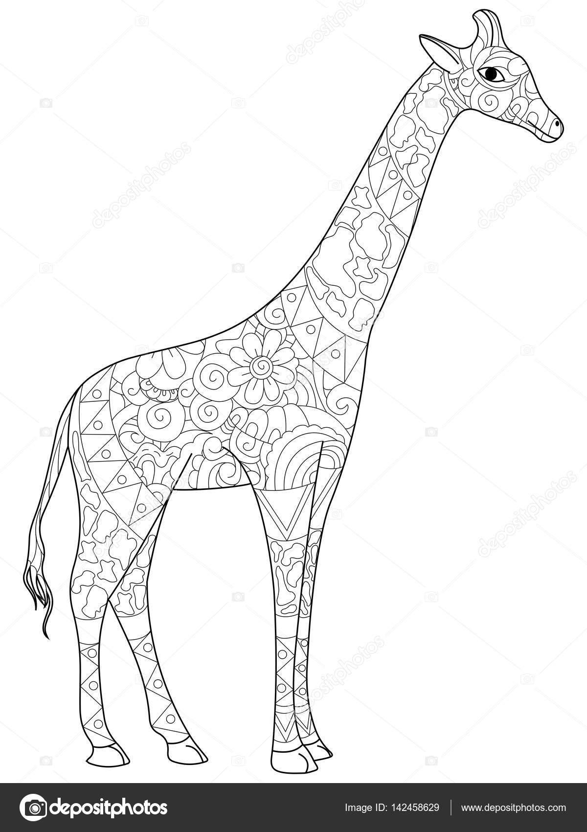 Kleurplaten Voor Volwassenen Giraf.Giraffe Kleuren Boek Voor Volwassenen Vectorillustratie