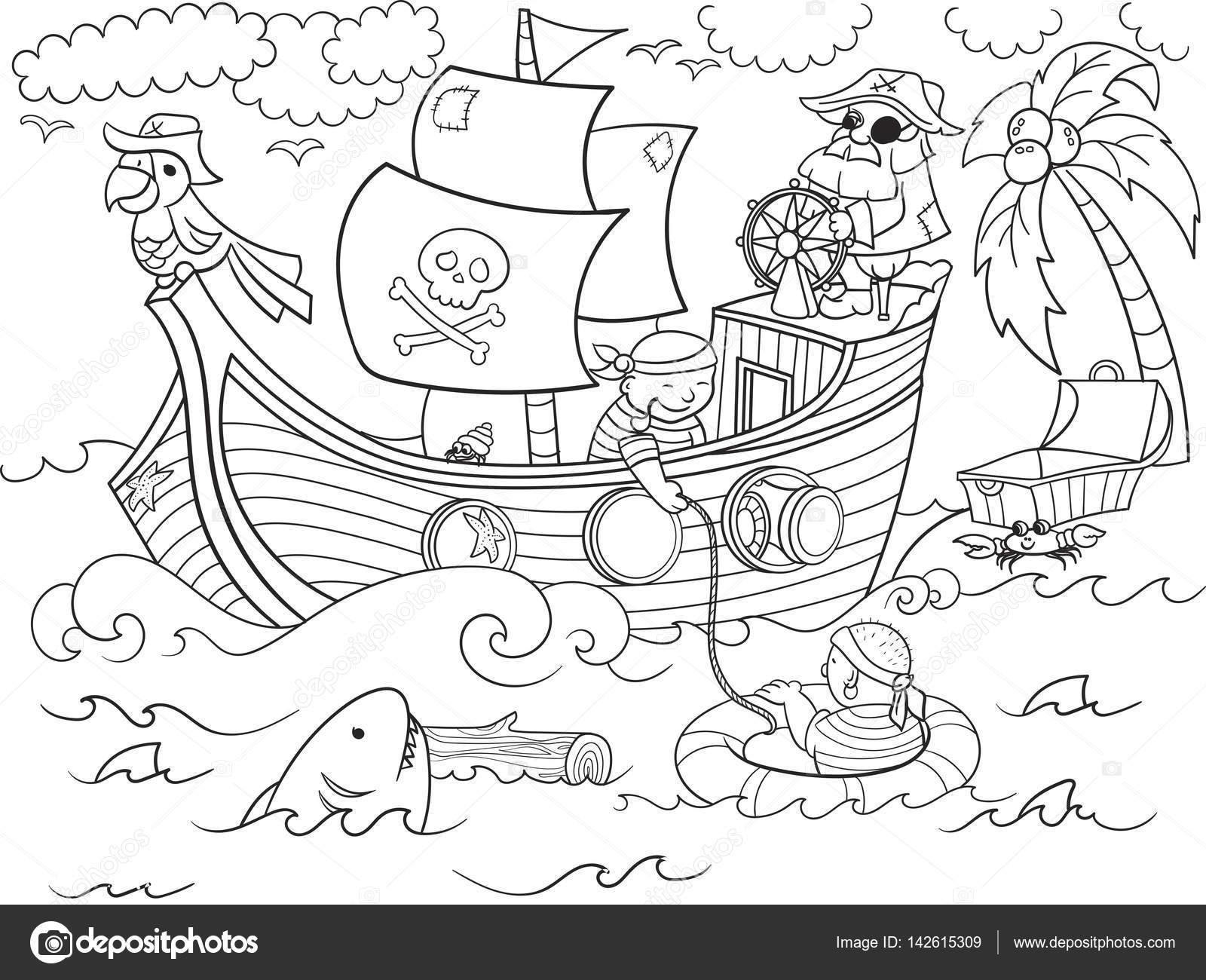Kleurplaten Piratenschip.Kinderen Kleurplaten Rond Het Thema Piraten Vector Stockvector