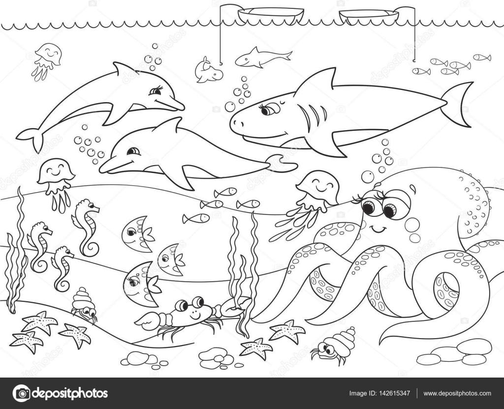 Fondo Del Mar Con Animales Marinos. Vector Para Colorear