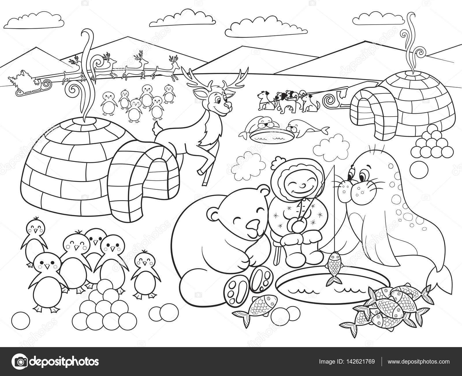 Ilustración de vector de Polo Norte para colorear a los niños ...