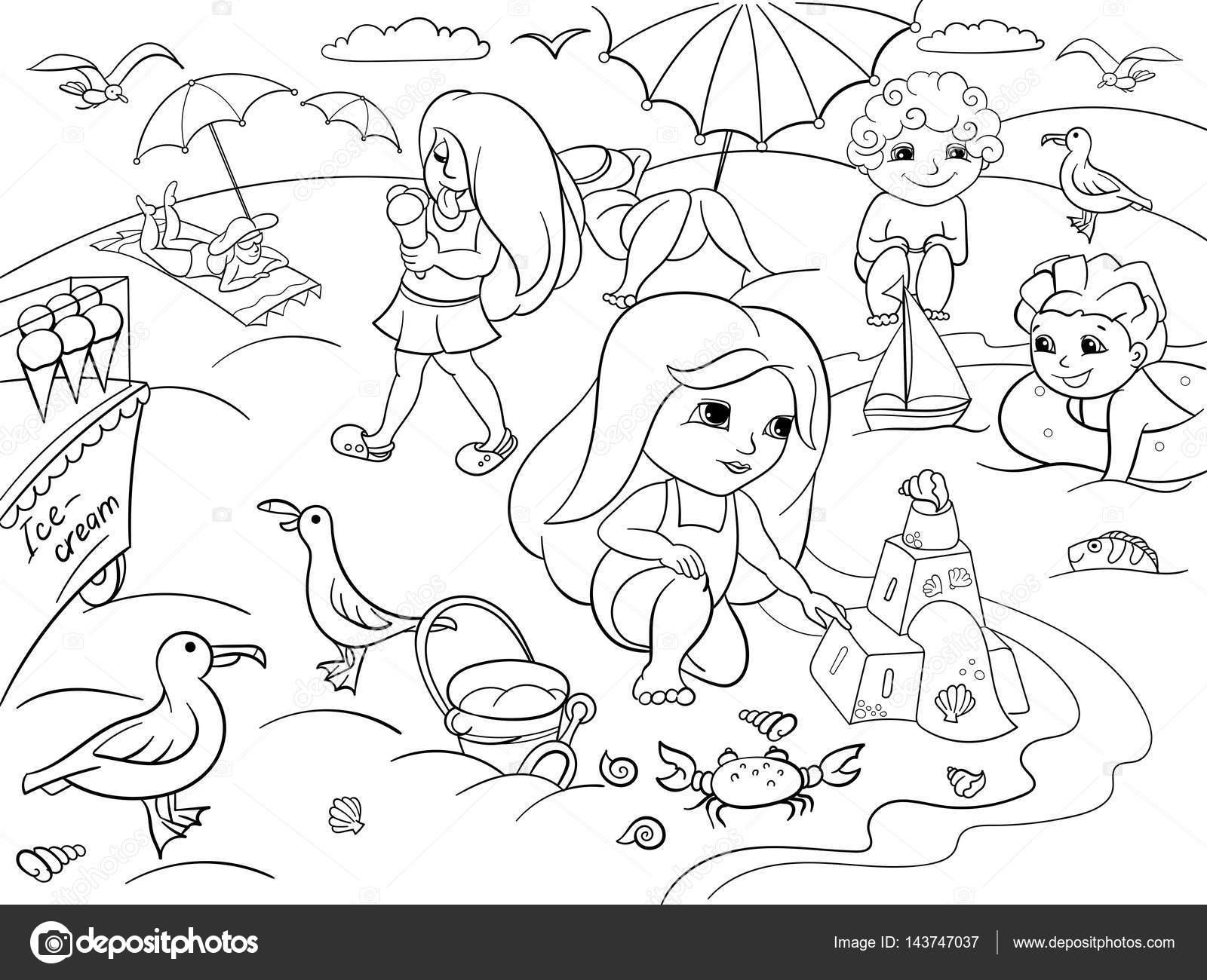Niños nadando en la playa y jugar con los juguetes — Vector de stock ...