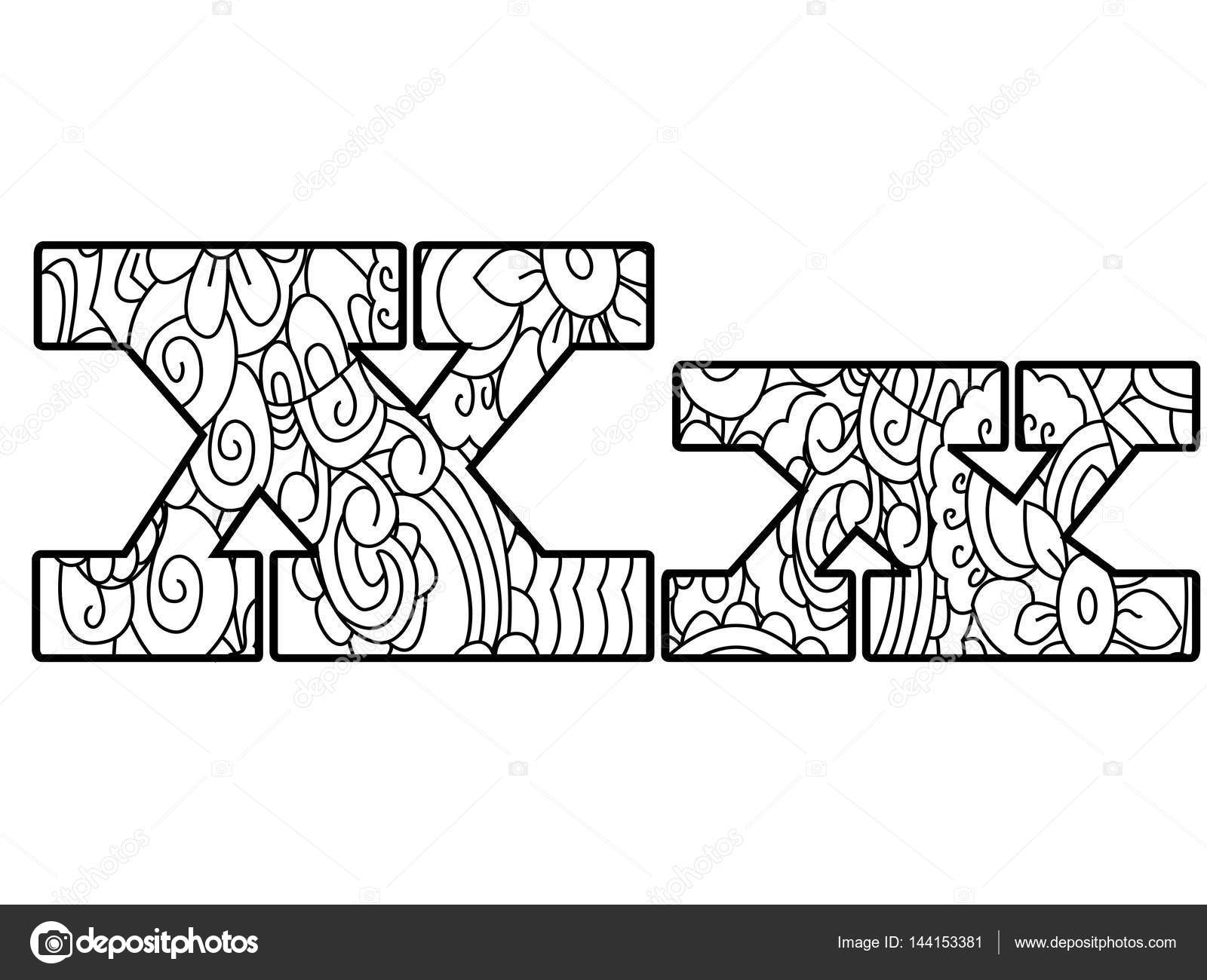 Anti Coloring Book Alphabet The Letter X Vector Illustration Stock 144153381