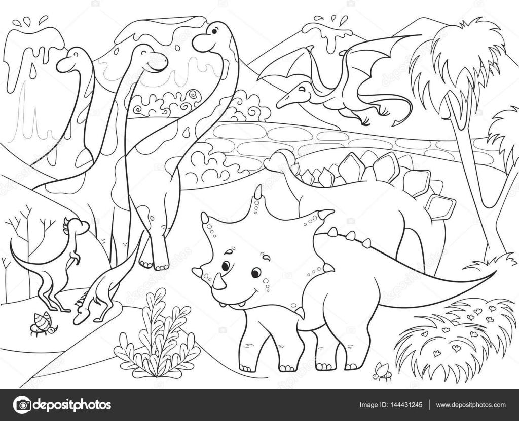 Dibujos animados para colorear de dinosaurios los niños en la ...