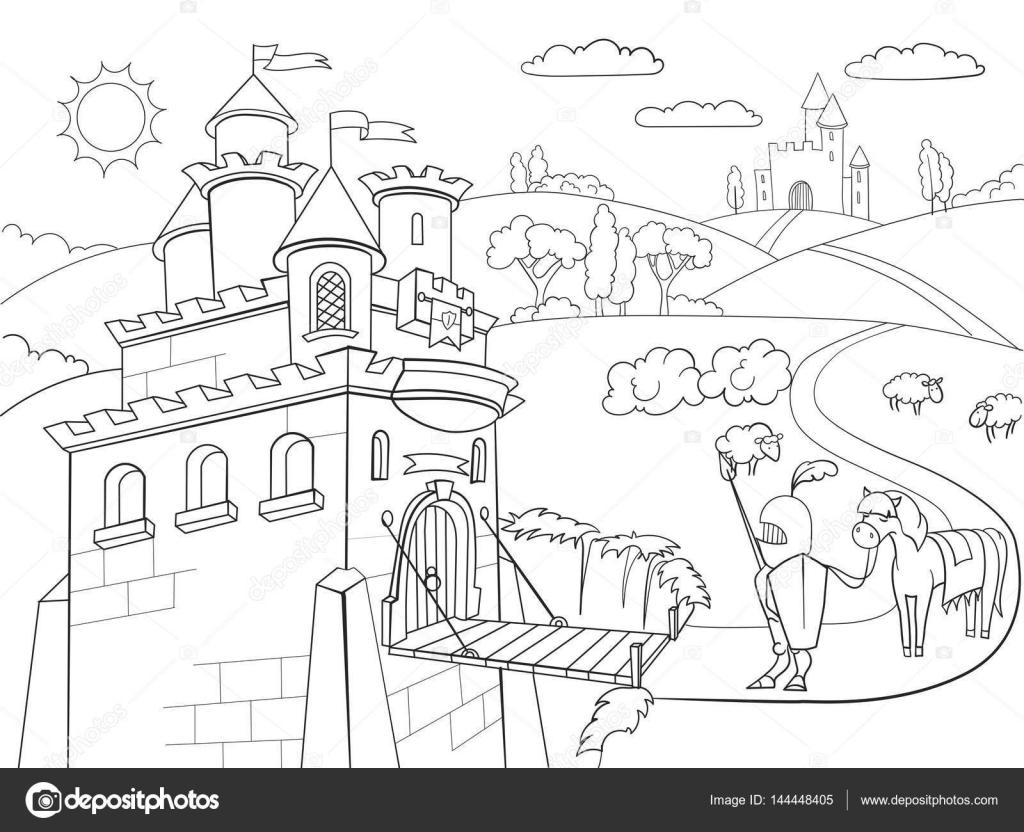 crianças colorir vetor de castelo cavalheiresca dos desenhos