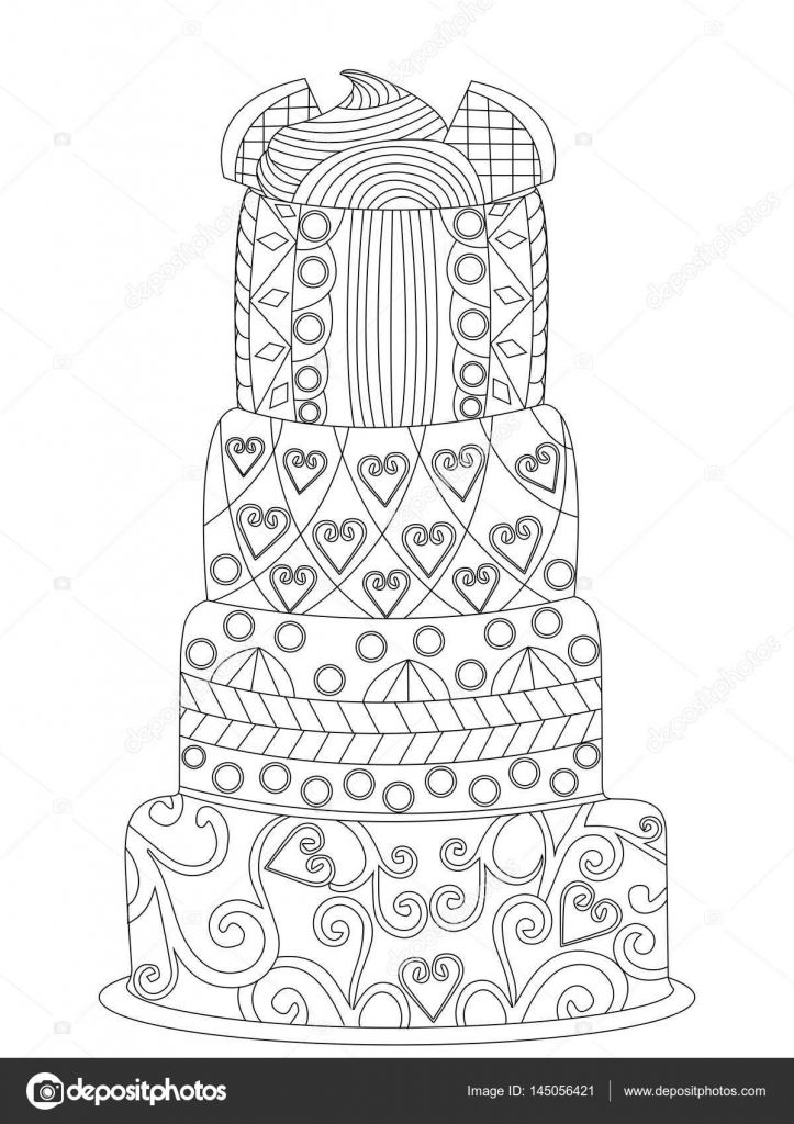 Stock Illustration Cake Coloring Vector For Adults on cake illustration
