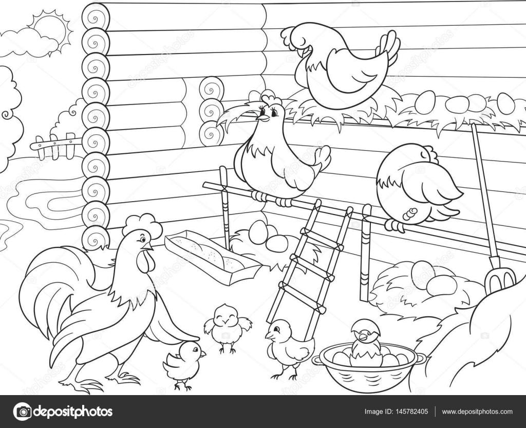 interieur en leven vogels in het kippenhok kleurplaten