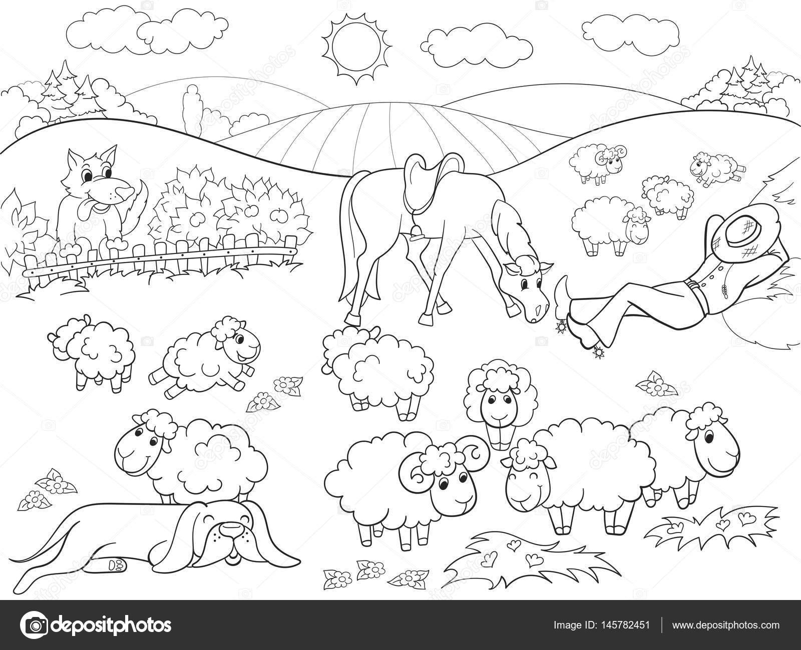 Pasto de ovejas con un pastor y un perro para colorear para niños de ...