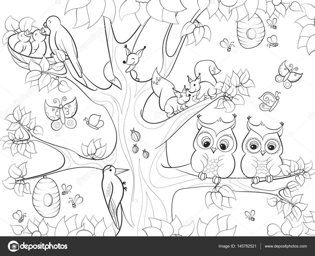 Dibujos Arbolpara Colorear Animales Y Pájaros Que Viven En El