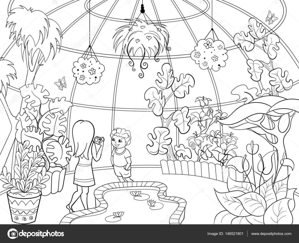 Ilustración de vector de dibujos animados de jardín botánico ...