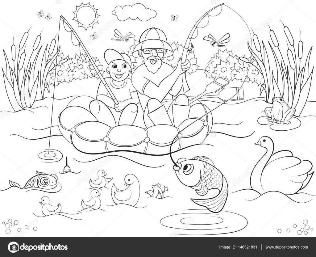 Imágenes: Niño Pescando Para Colorear