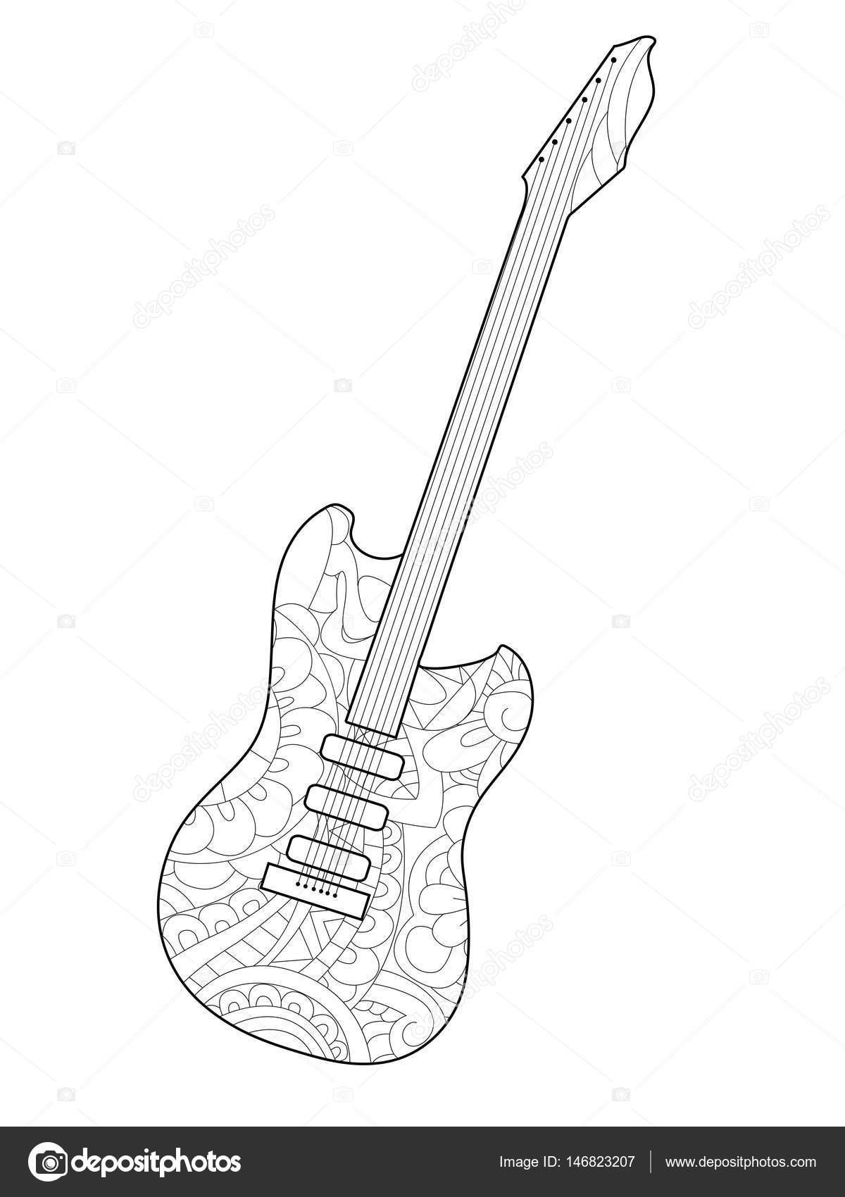 kleurplaat elektrische gitaar