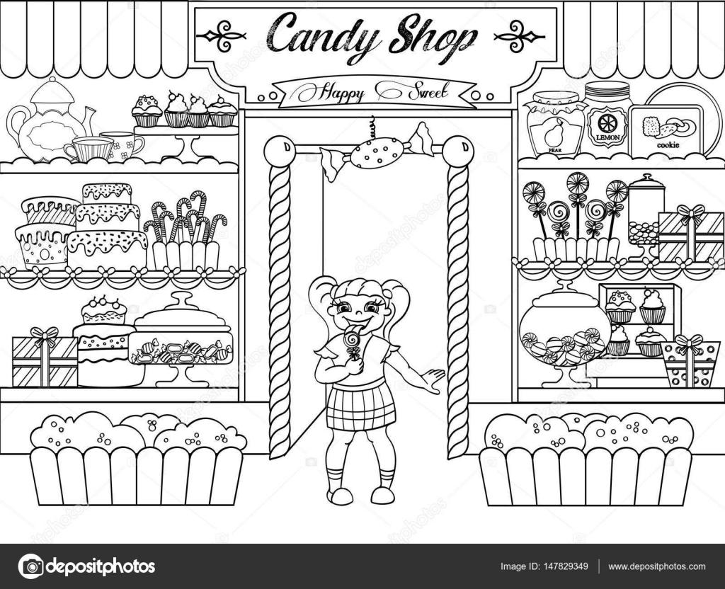 Dibujos Para Colorear Tienda De Dulces Niños Para Colorear Vector