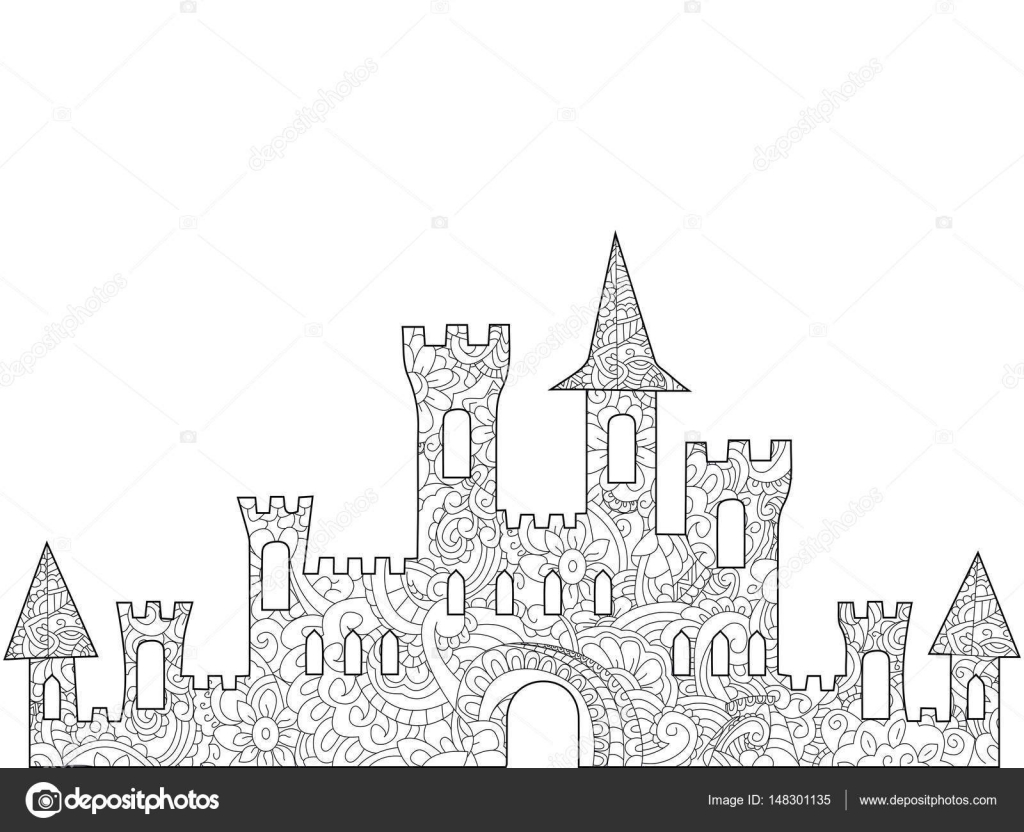 Old Castle Coloring Book For Adults Stock Vector C Toricheks2016