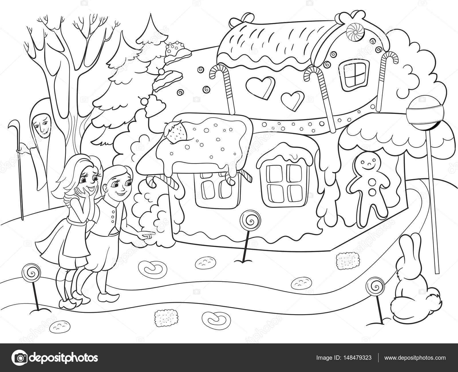 Infantil para colorear vector escena historia con par de niños comer ...