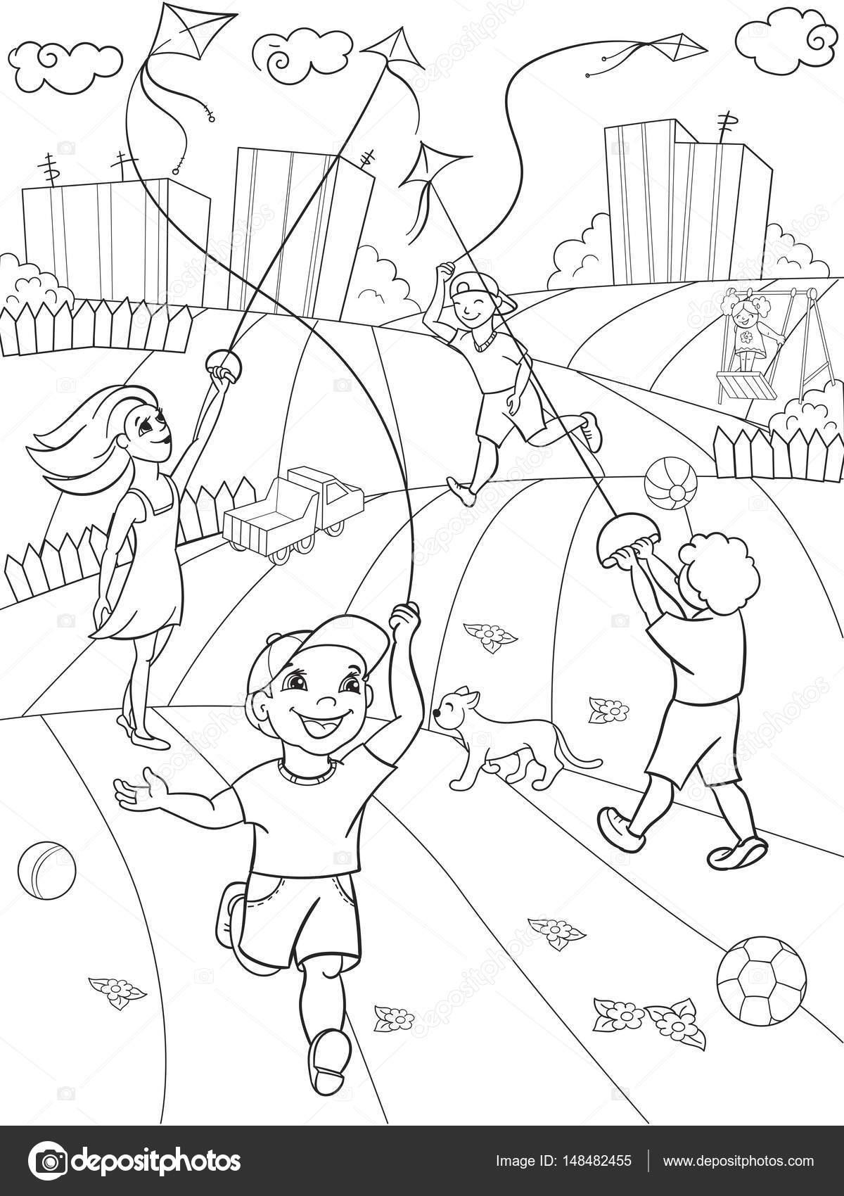 Niños para colorear juego de vector la cometa voladora — Vector de ...